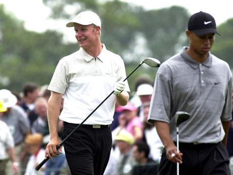 Ilonen pelasi ensimmäistä kertaa Tiger Woodsin kanssa vuoden 2001 US Mastersissa.  &copy Getty Images