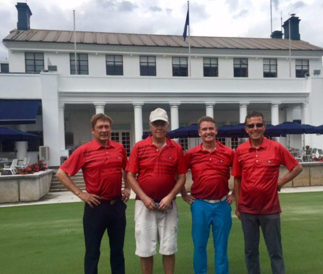 1000:nnen klubin juhlat, Hong Kong Golf Club. Esa Mäkinen, Visa Pekkarinen, Jouni Asikainen ja Martti Kenkkilä.