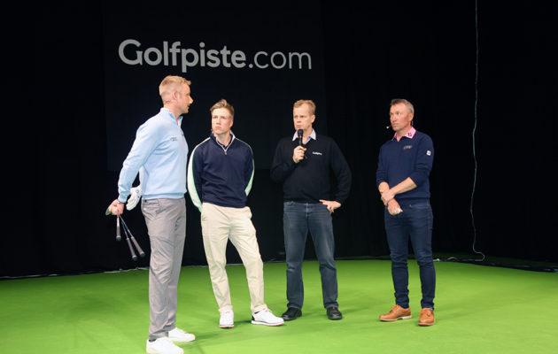 Mikko Ilonen, Matias Honkala ja Timo Rauhala keskustelivat kilpagolfista ja kauden tavoitteista.