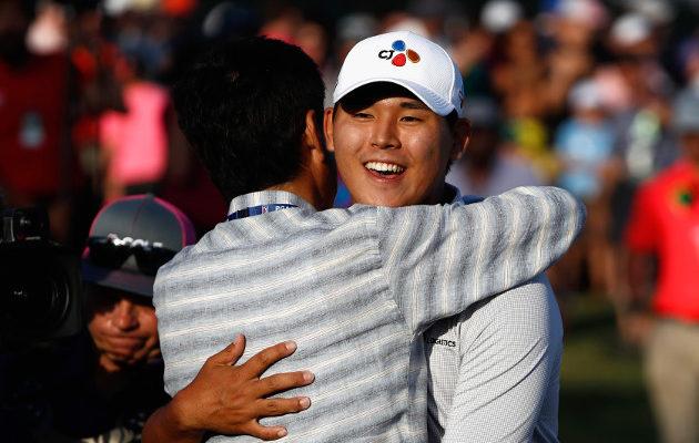 Si Woo Kim nousi puskista kauden arvostetuimpiin kuuluvan kilpailun voittajaksi. Kuva: Getty Images