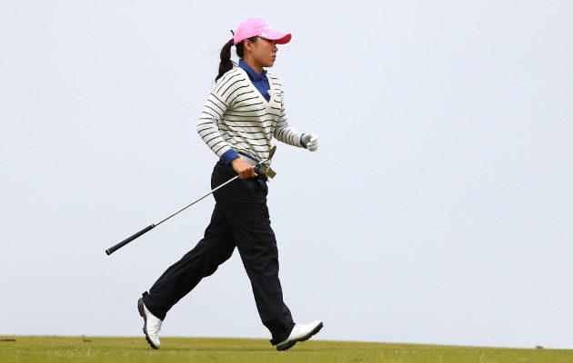 In-Kyung Kim rientää selvästi muita edellä. Sunnuntaina selviää riittääkö irtiotto voittoon saakka. Kuva: Getty Images
