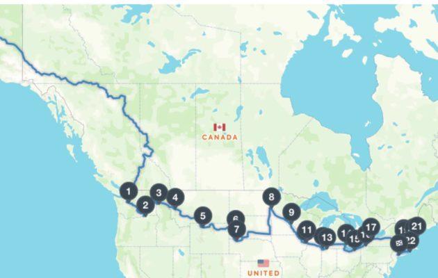 Kolmikon suunniteltu reitti kulkee lännestä itään halki Yhdysvaltojen pohjoisten osavaltioiden.