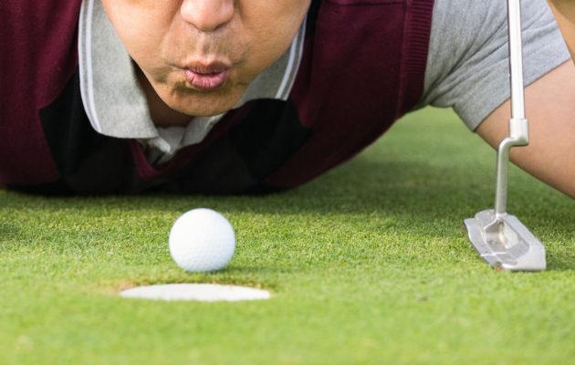 Golfarin unelman tavoittelemiseen voi suhtautua myös itseironisesti. Kuva rtf123