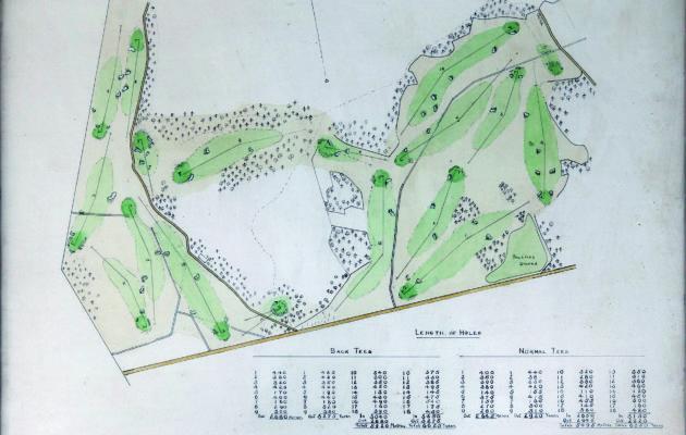 Luonnospiirros Suomen ensimmäisestä täysimittaisesta golfkentästä, jota ei lopulta koskaan rakennettu.