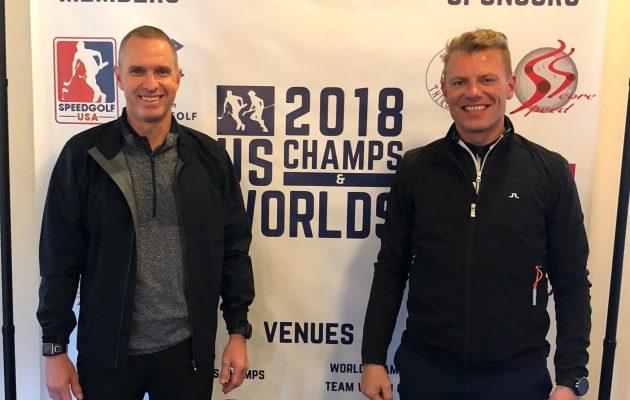 Mikko Rantanen (vas.) ja Jari Pitkälä eivät aivan yltäneet Speedgolf Team World Cupin loppuhuipennukseen.