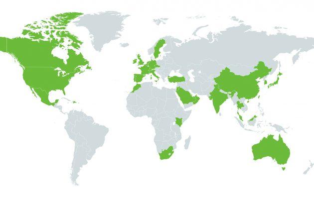 Vihreällä merkatuissa maissa pelataan European Tourin, Ladies European Tourin, PGA Tourin tai LPGA Tourin osakilpailu, monissa maissa useitakin.