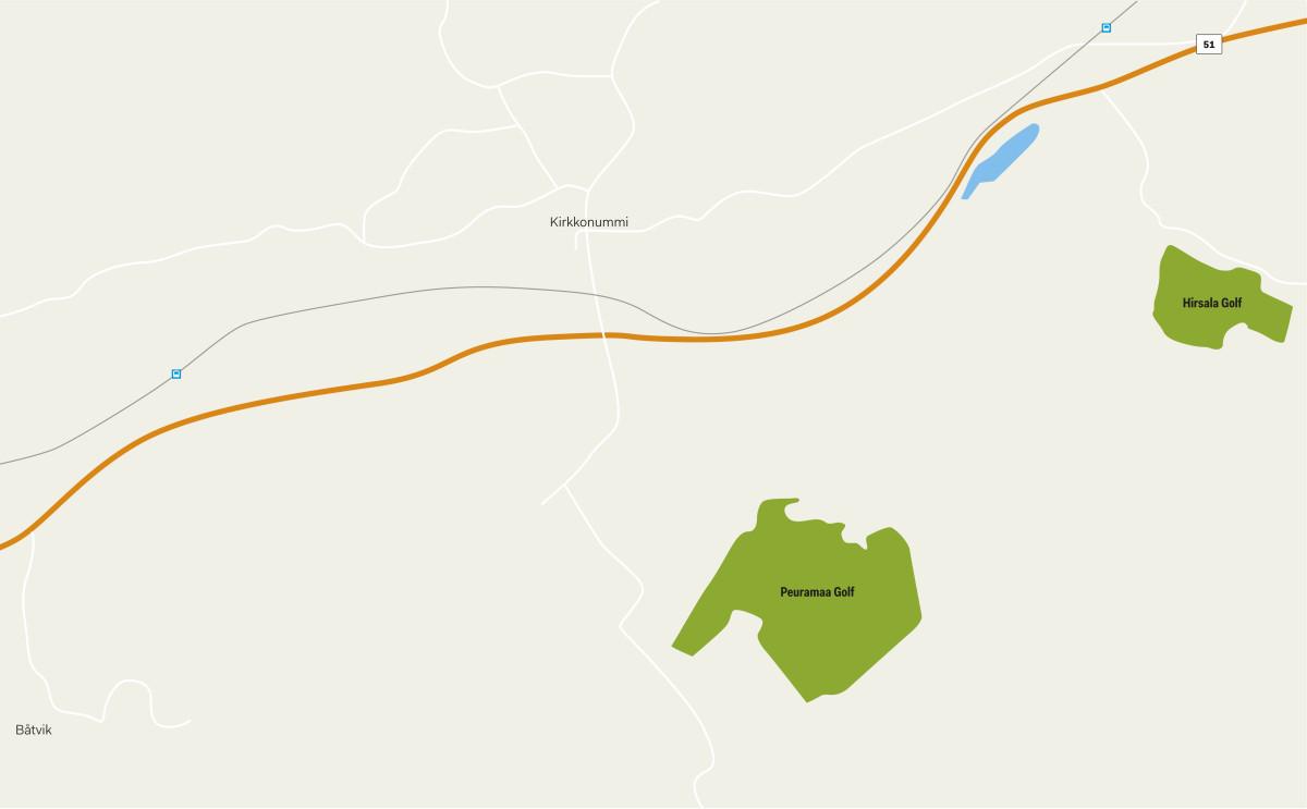Linnuntietä Peuramaan ja Hirsalan etäisyys on noin kolme kilometriä.