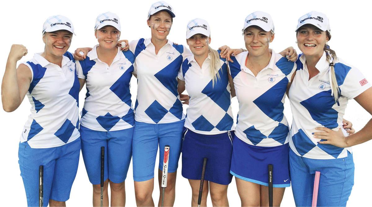 Karina Kukkonen (vas.), Emily Penttilä, Marika Voss, Matilda Castrén, Oona Vartiainen ja Sanna Nuutinen voittivat EM-hopeaa Virossa.