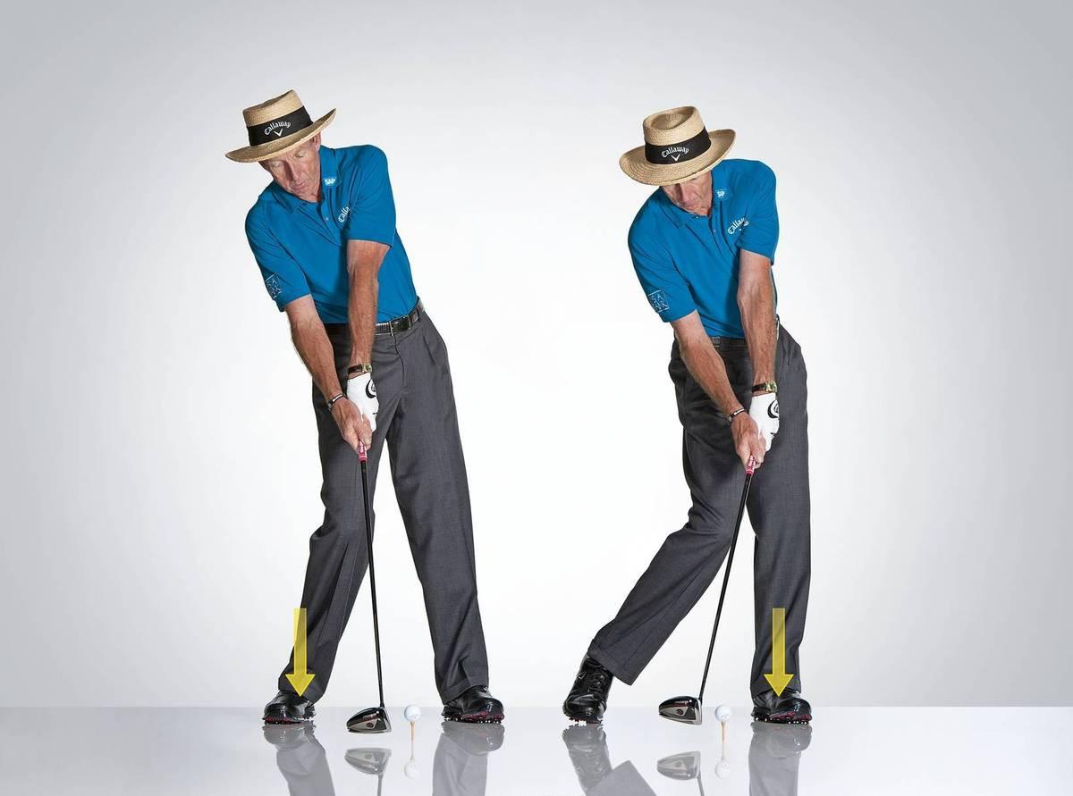 EI  Älä jätä painoa taaemmalle jalalle.  KYLLÄ  Työnnä lantiota eteenpäin saadaksesi oikean painonsiirron.