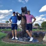 Tapio Pulkkanen (vas.), Antti Ahokas ja PGA Nationalin Champion -kentän kuuluisa  The Bear Trap.