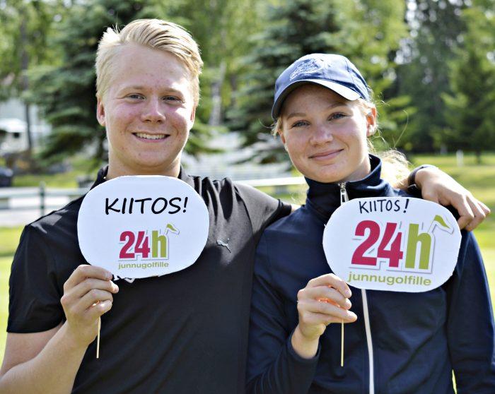 Iiro ja Wilma Merenmies keräsivät junioreille varoja Ruukki Golfissa.